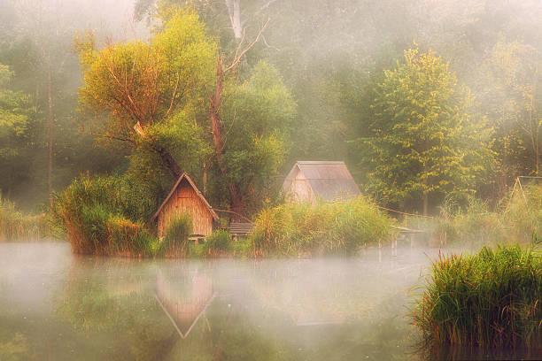 Mystical lake on a foggy autumn morning stock photo