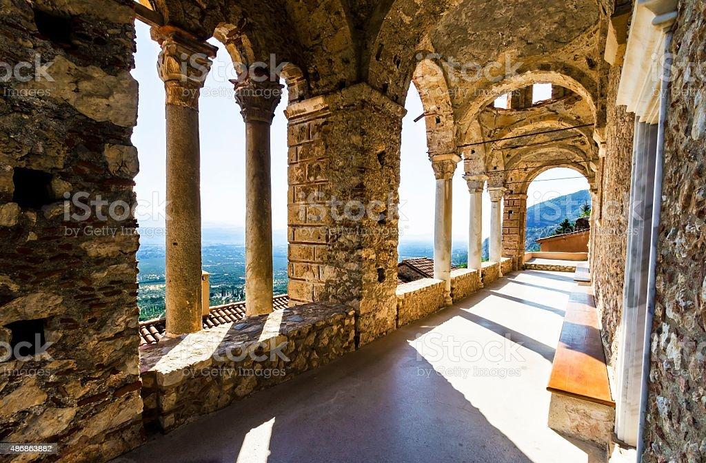 Mystical Mystras, Panayia Pantanassa monastery stock photo