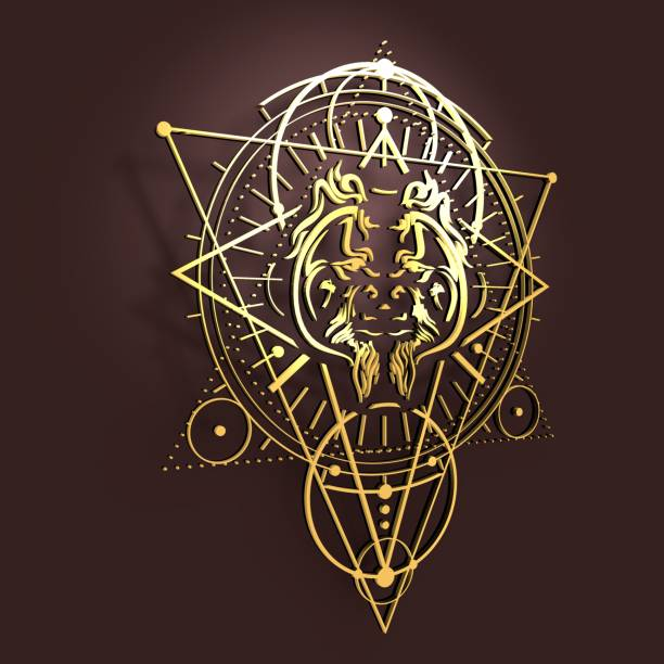 mystische, okkulte symbol. - affentattoos stock-fotos und bilder