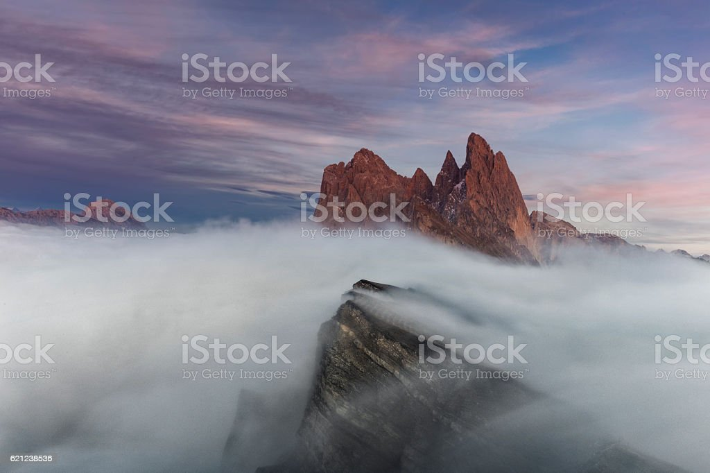 Mystical sunset at Seceda in south Tirol stock photo