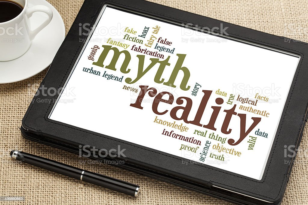 myth and reality word cloud royalty-free stock photo