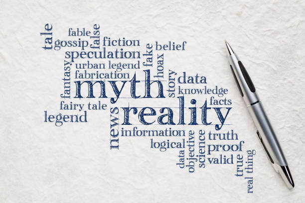 myth and reality word cloud myth versus reality word cloud - handwriting on a lokta paper with a pen information equipment stock pictures, royalty-free photos & images