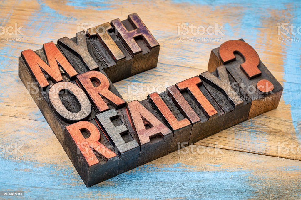 Myth or reality? Question in wood type stock photo