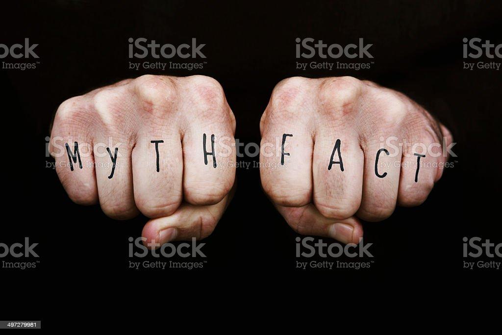Myth Vs Fact stock photo
