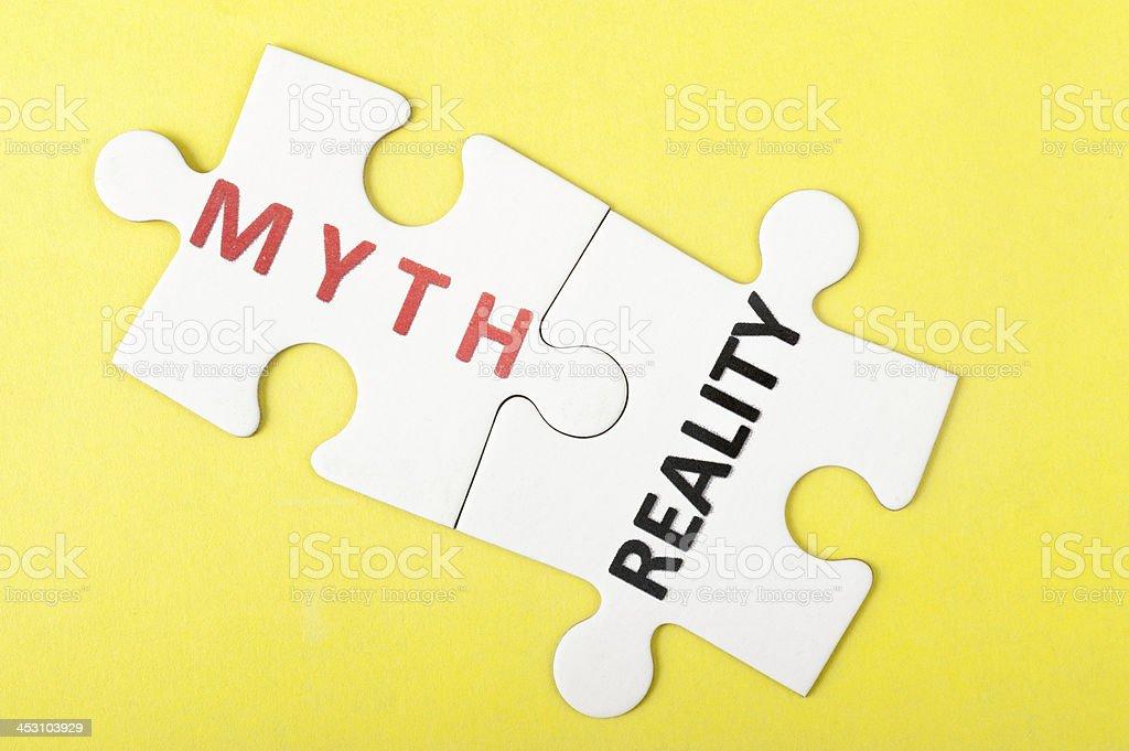 Myth vs reality stock photo