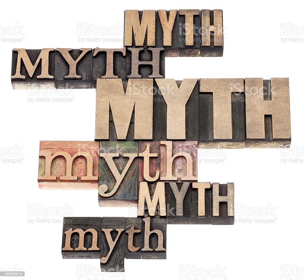 myth word abstract stock photo