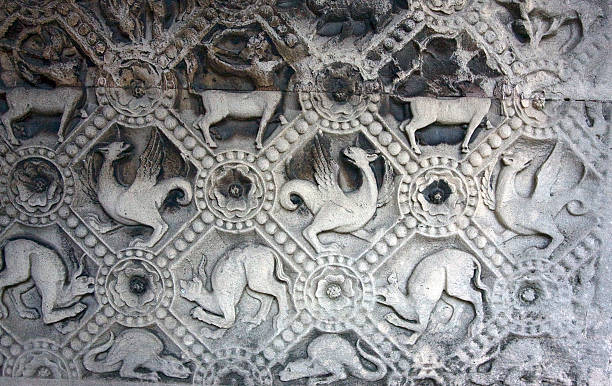 Mythical animals stonework Notre Dame, Paris stock photo