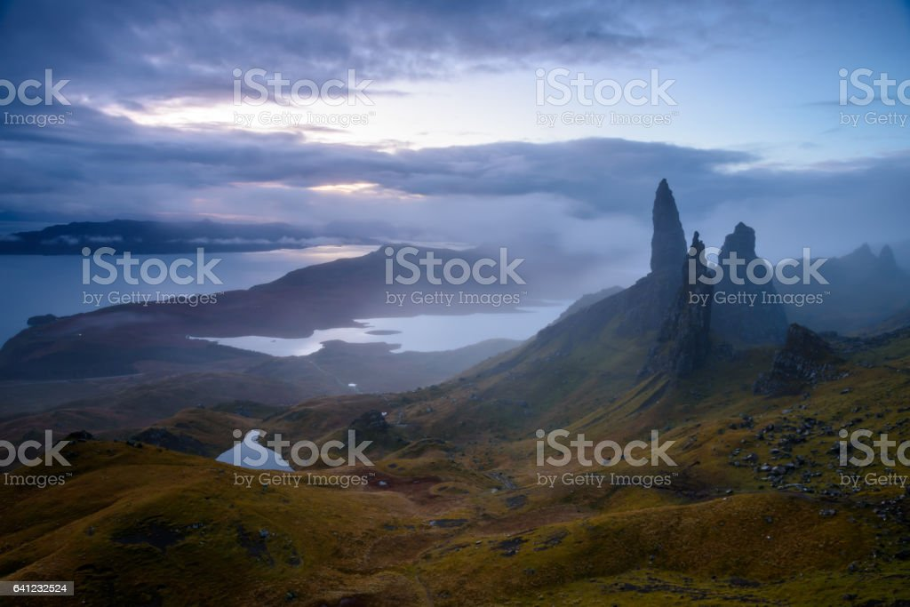 Mythical Old Man of Storr stock photo