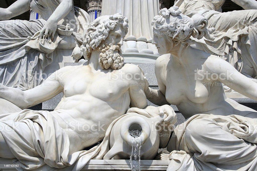 mythology from vienna pant - fountain near parliament stock photo