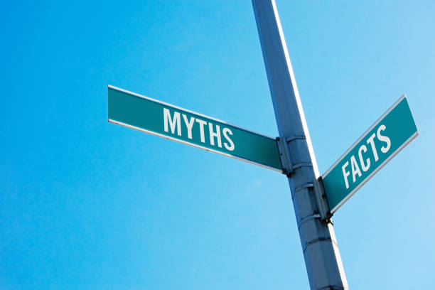 Myths or facts Road sign symbolizing decision between Myths and facts information equipment stock pictures, royalty-free photos & images