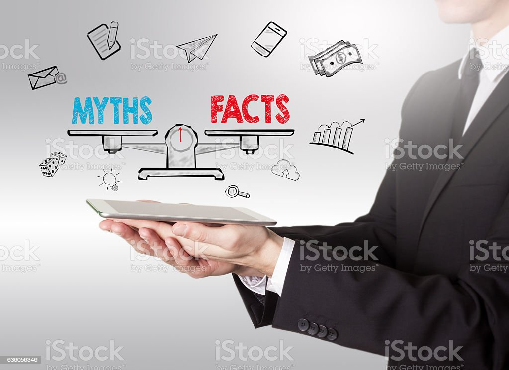 Myths vs facts Balance stock photo