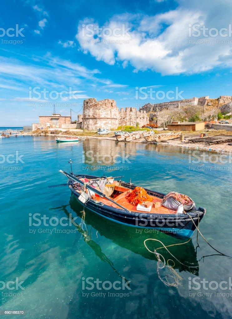 Mytilini old harbour in Lesvos Island stock photo