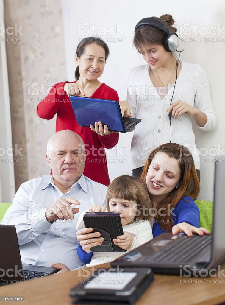 n family uses few various electronic devices royalty-free stock photo