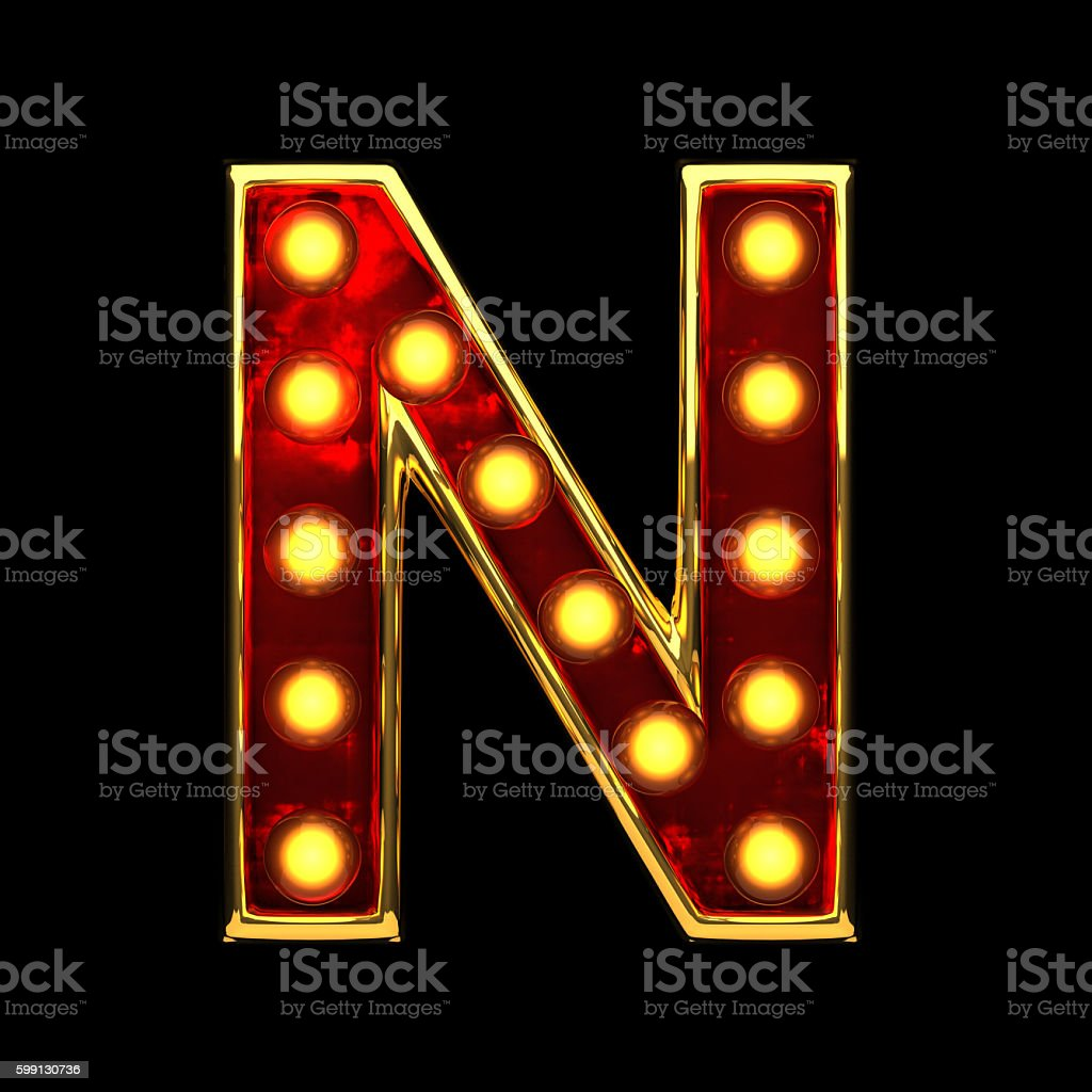 n isolated golden letter with lights on black. 3d illustration stock photo