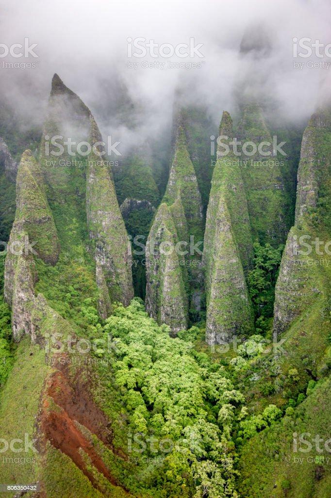Na Pali Coast Kauai Island Canyons Hawaii stock photo