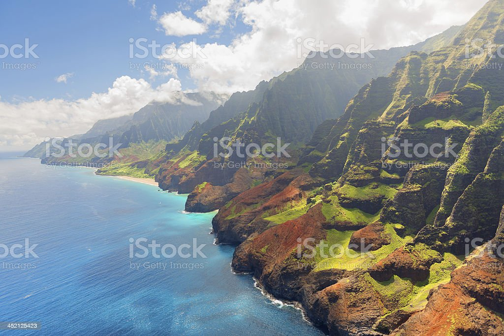 Na Pali Coast on Kauai island in summer stock photo