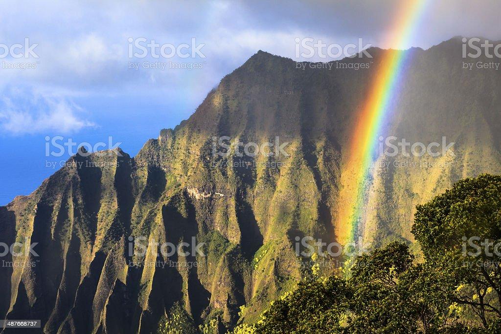 Na Pali Coast Rainbow royalty-free stock photo