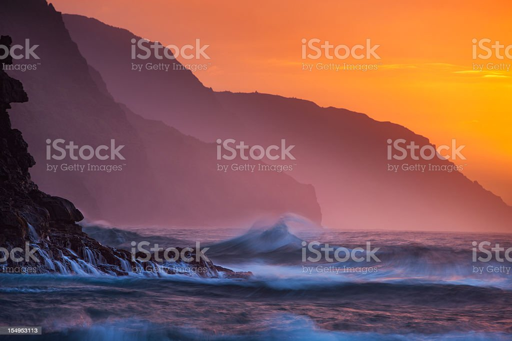 Na Pali Coast sunset, Kauai, Hawaii. stock photo