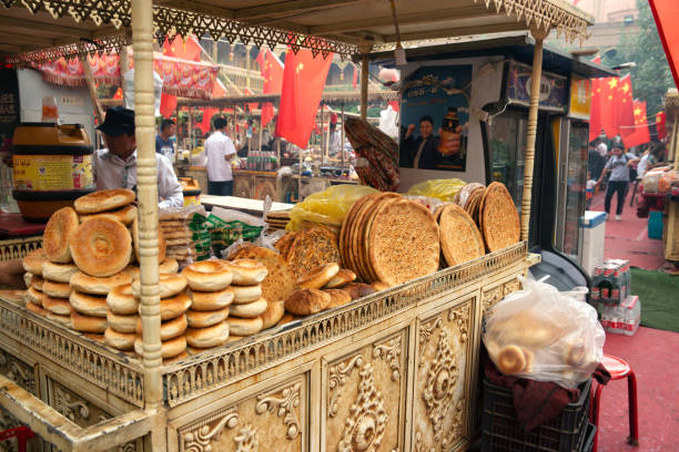 Naan brood in Kashgar​​​ foto
