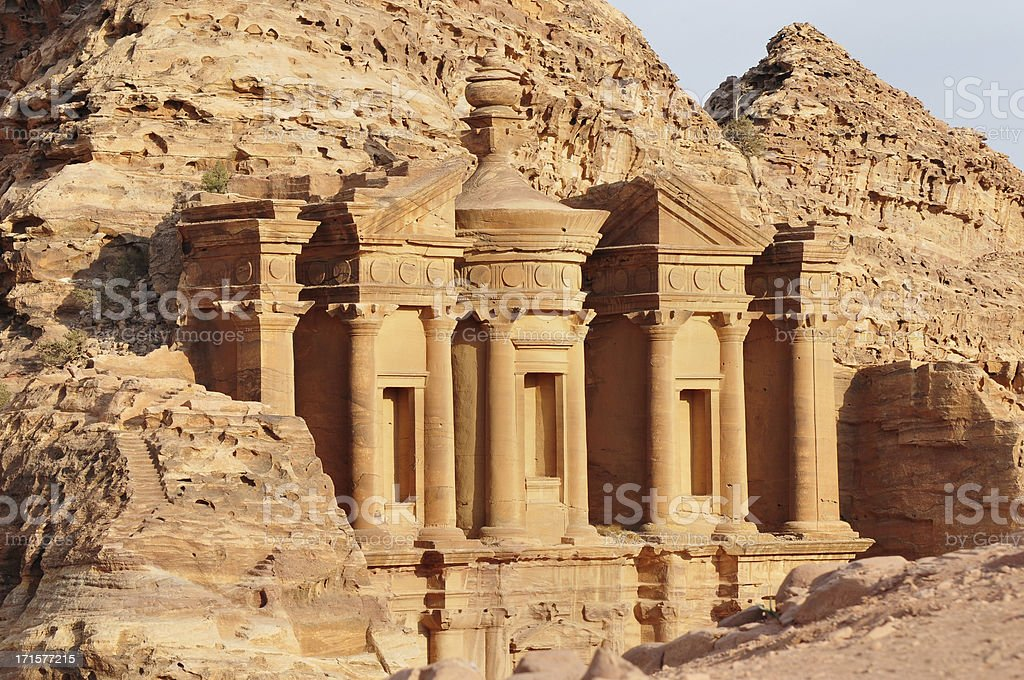 Nabatean architecture in Petra stock photo