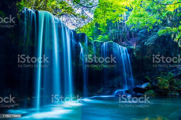 Photo of Nabegatai, waterfall in forest, Kumamoto Japan