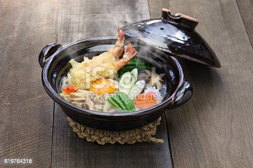 istock nabeyaki udon, japanese hot pot noodle 619764318