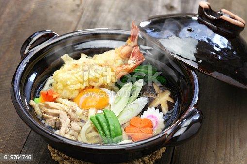 istock nabeyaki udon, japanese hot pot noodle 619764746