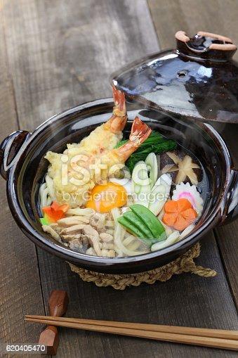 istock nabeyaki udon, japanese hot pot noodle 620405470