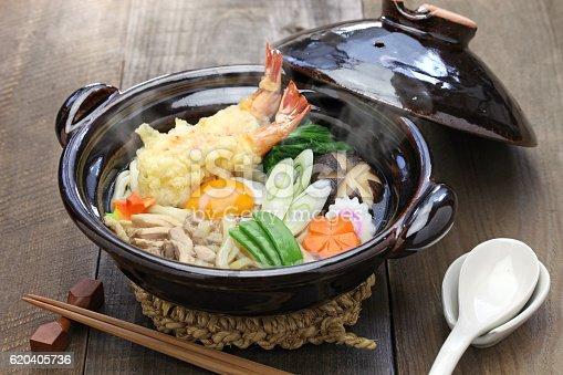 istock nabeyaki udon, japanese hot pot noodle 620405736