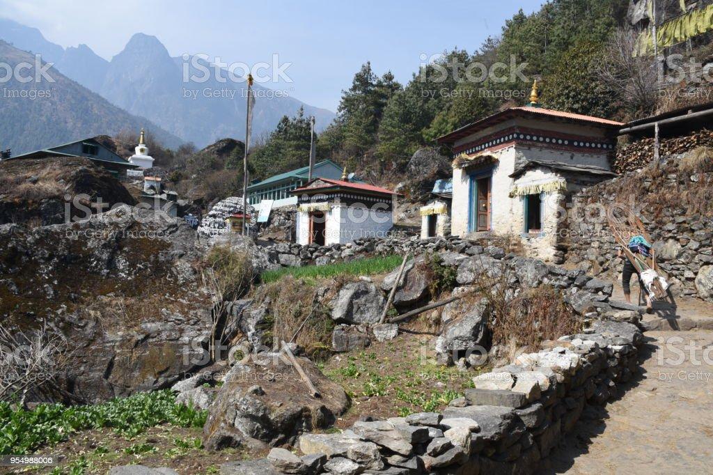 Nachipang village in Nepal stock photo