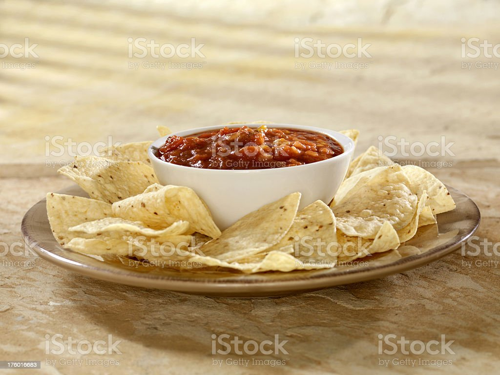 Nacho Chips with Salsa stock photo