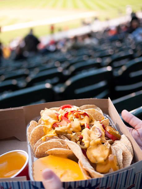Nachos at a Baseball Game Ballpark Sports Stadium stock photo