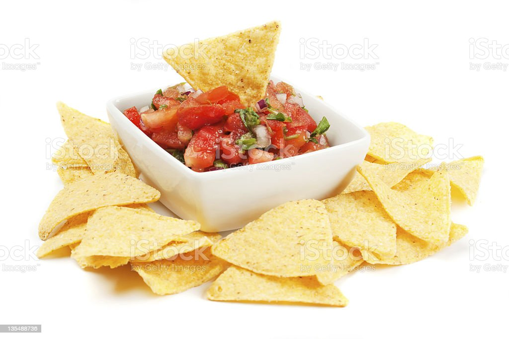 Nachos corn chips with homemade salsa stock photo