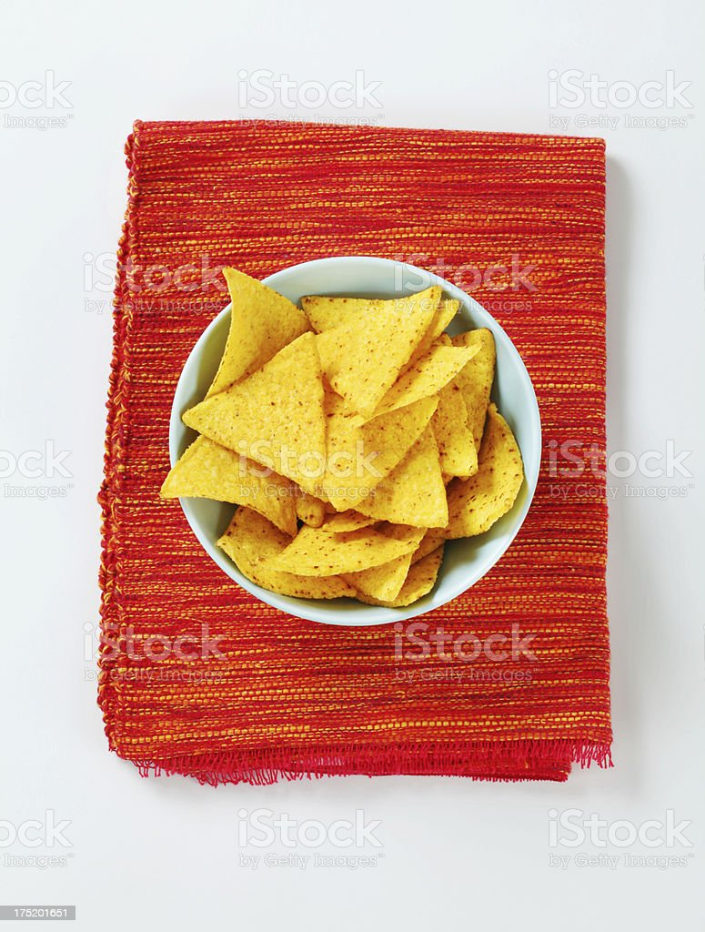 Nachos in a bowl on  red napkin royalty-free stock photo