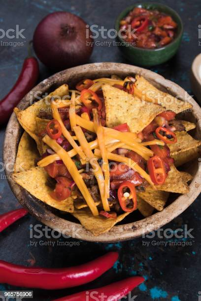 Nachos Mexican Meal With Tortilla Chips Stock Photo - Download Image Now