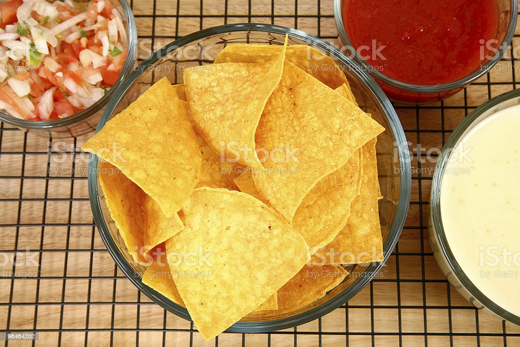 Nachos, Salsa  and Cheese Dip royalty-free stock photo