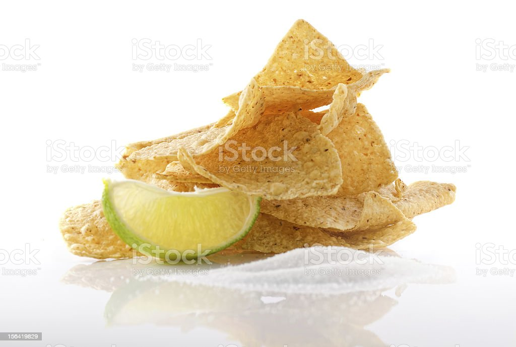 Nachos wit lime and seal salt. royalty-free stock photo