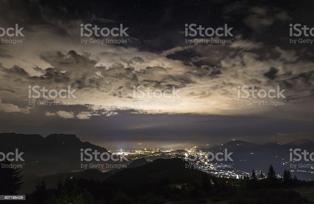 Nachtpanorama Salzburg stock photo