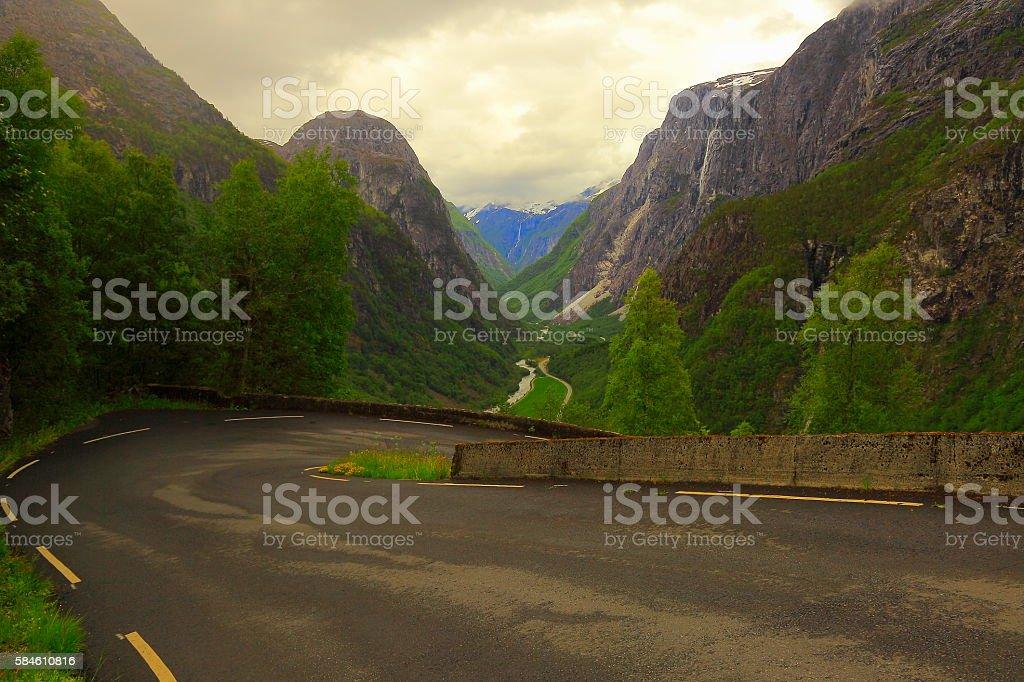 Naeroydalen valley from the Stalheim national tourist route, Norway, Scandinavia stock photo