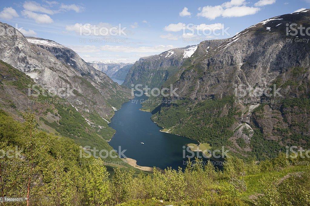 Naeroyfjord - famous UNESCO World Heritage Site in Norway. royalty-free stock photo