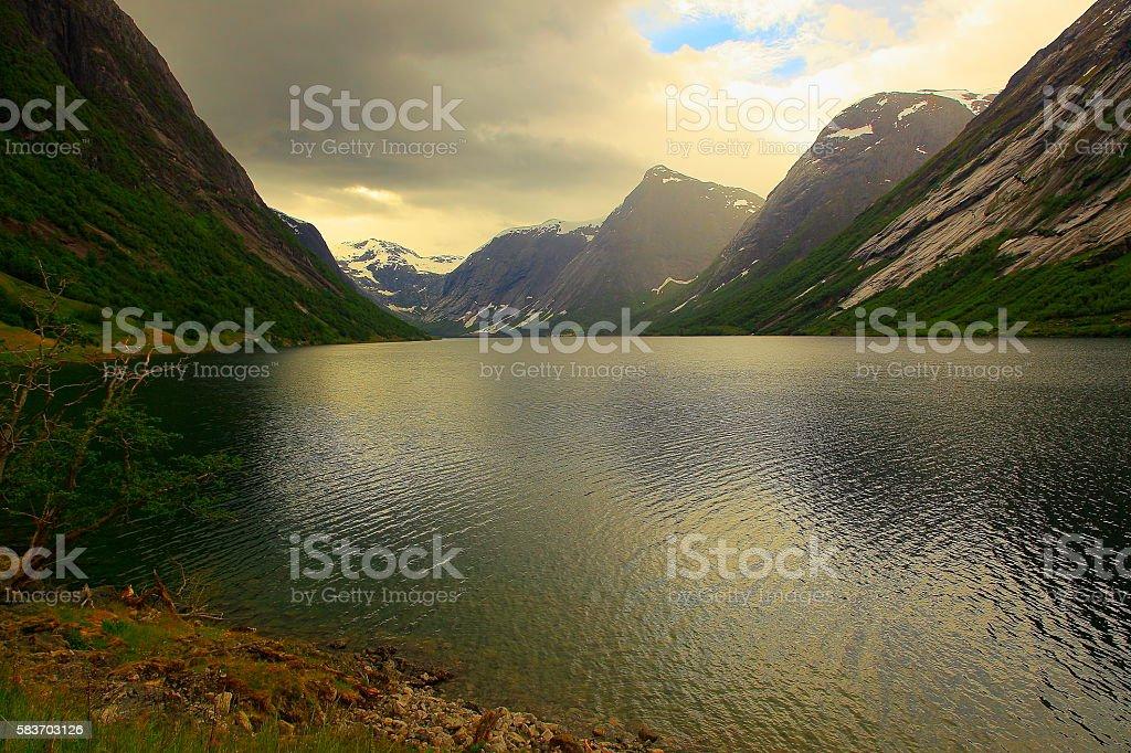 Naeroyfjord idyllic fjord landscape dramatic sunset, Norway, Nordic Countries stock photo