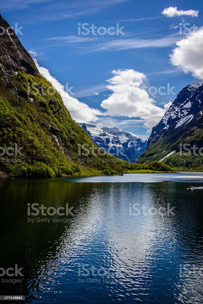 Naeroyfjord, Norway stock photo