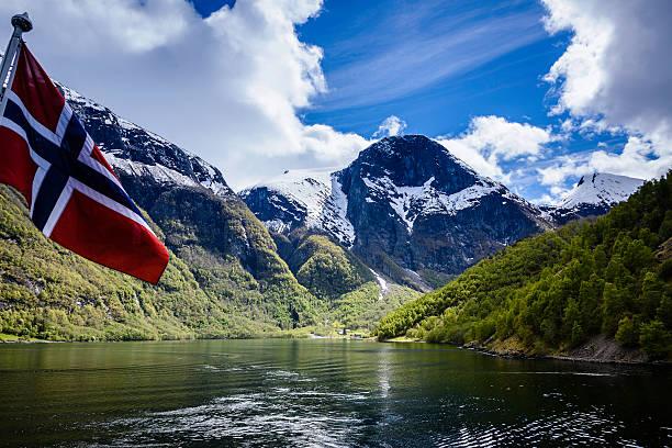 naeroyfjord, norway - noorse vlag stockfoto's en -beelden