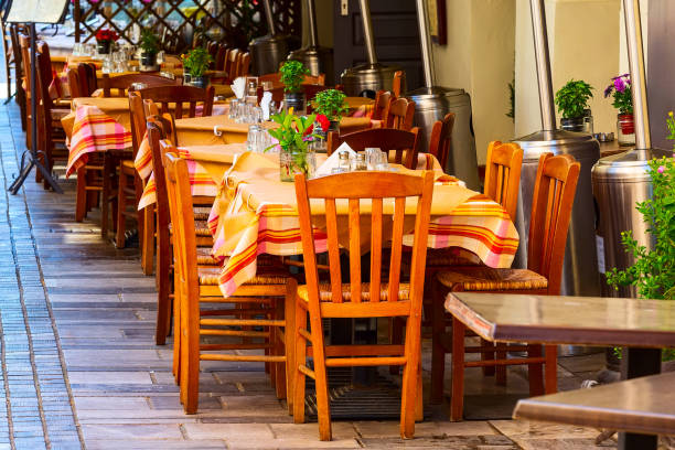 Nafplio, Greece tables in tavern stock photo