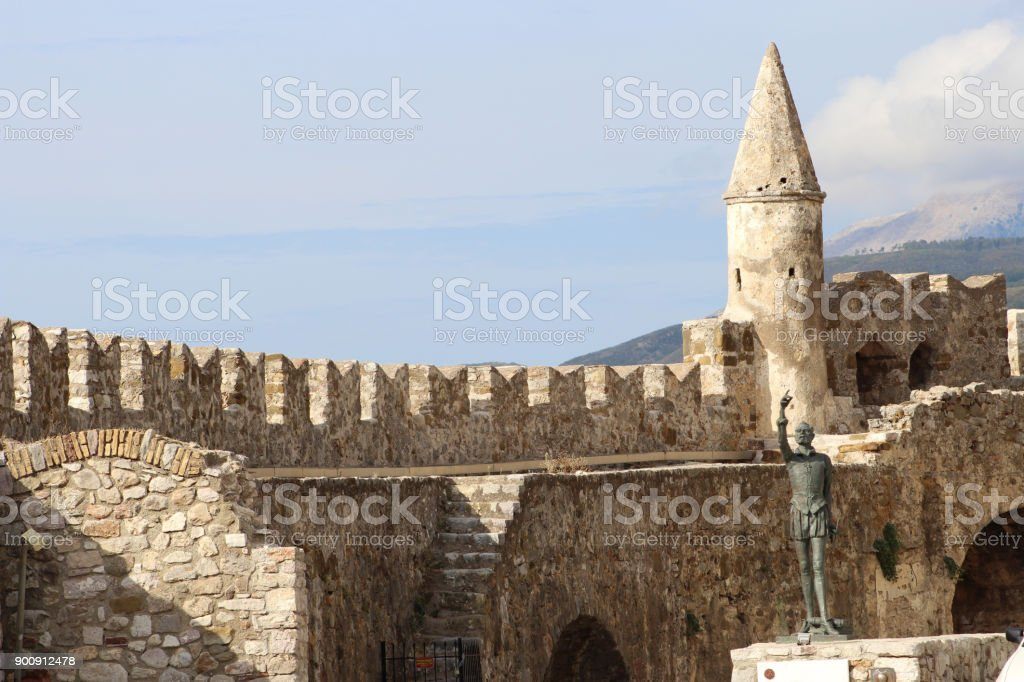 Nafpoktos - Fortified walls on the northern shore of Kolpos Korinthos stock photo