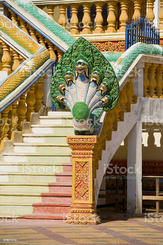 naga in an cambodian temple royalty-free stock photo