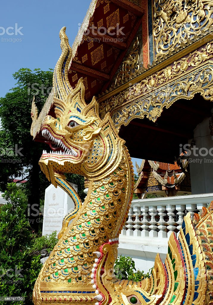 Naga in Thailand Temple stock photo