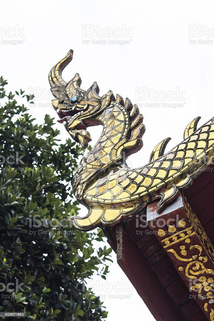 Naga river gable apex in Thai temple stock photo