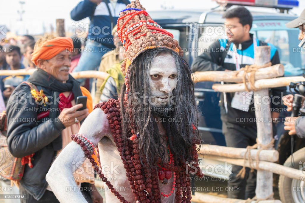 Arresting Sadhus Portrait Photography Religious Photography: Naga Sadhu Coming From The Holy Dip Stock Photo