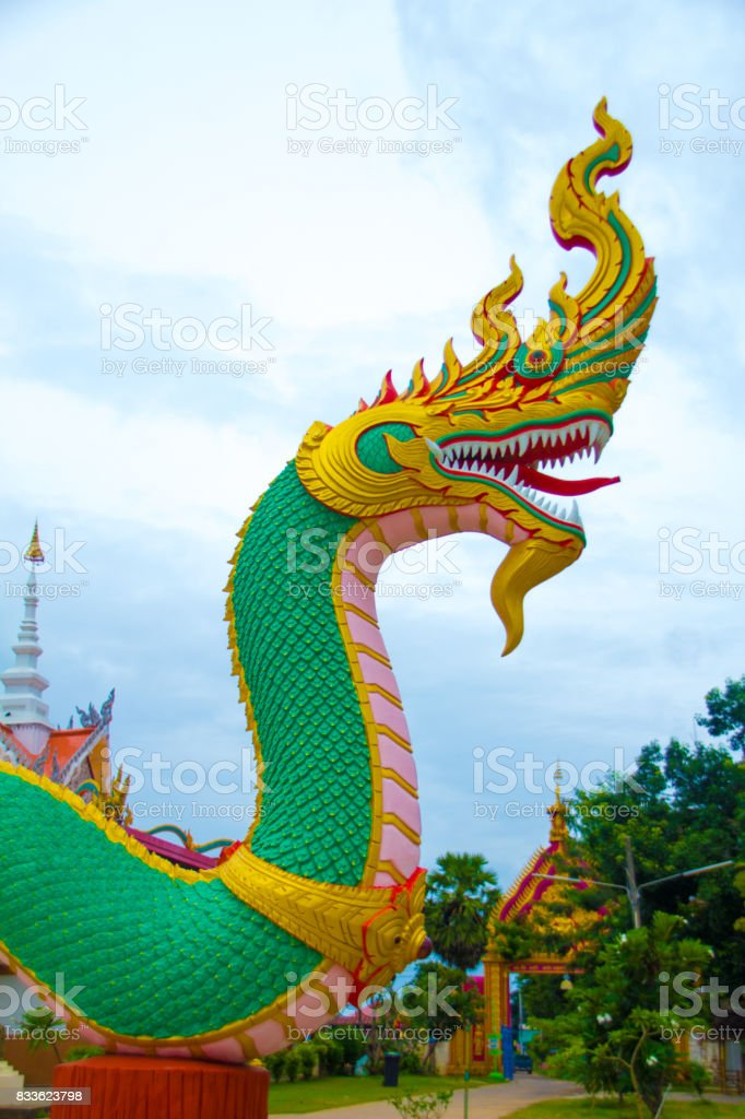 Naga sculpture on the stairs stock photo